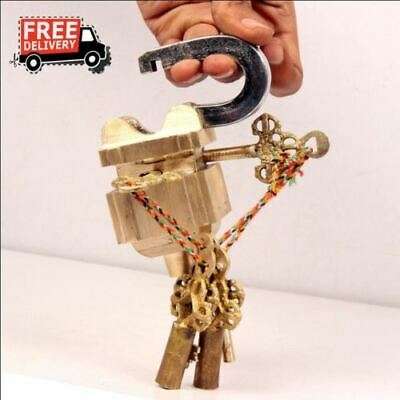 New 3 Keys Rare Antique Hand Crafted Tricky Puzzle Brass Lock & Key 698