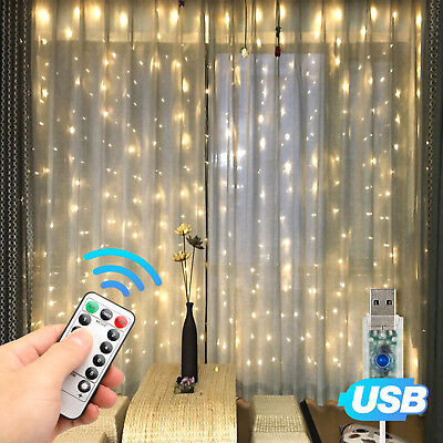 3*3m 300 LED Party Wedding Curtain Fairy Lights USB String Light Home w/Remote