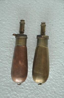2 Pc Victorian Style Big Miniature Brass Gun Powder Bottle/ Flask