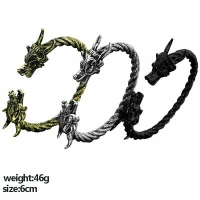 Men Viking Dragon Bracelets Twisted Cable Bangle Small Two Headed Wolf Fenrir