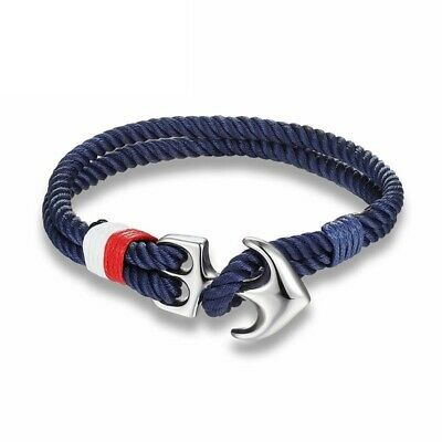 Men Anchor Bracelet Charm Nautical Survival Rope Chain Paracord Wrap Metal Sport