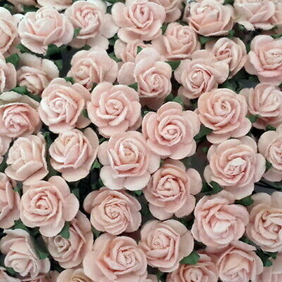 100 Pink Mulberry Paper Flowers Wedding Headpiece Scrapbook Gift Card Roses R8-2
