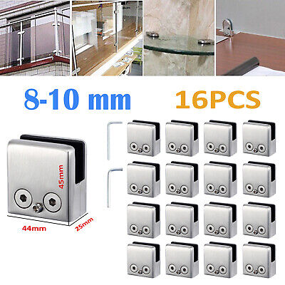 16X Glass Clamp Clip Flat Back Bracket 8-10mm For Handrail 304 Stainless Steel