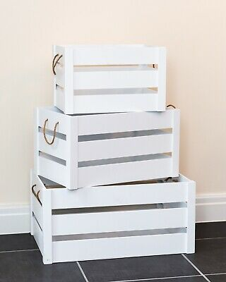 Vintage Wooden Crate White Shabby Chic Rope Handle Slatted Apple Display Box Far