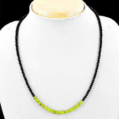 50.00 Cts Natural Faceted Black Spinel & Green Peridot Beads Necklace NK 13E60