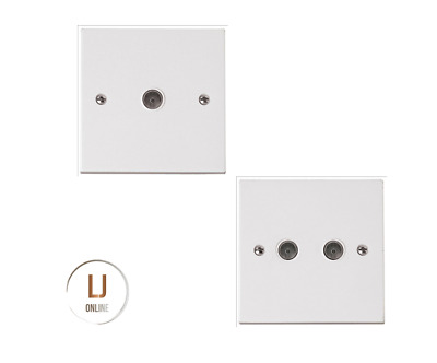 White Single Double Coax Outlet Coaxial TV Point Aerial Television Wall Socket