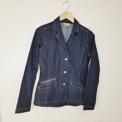 c0c2ab5707 Royal Robbins M Denim Jean Jacket Blazer Navy Blue Stretch Zip Pockets  Womens