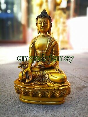 shakyamuni bronze Medicine buddha antique Buddhism carved old bronze statue
