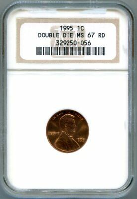 NGC-MS67 Red 1995-P DOUBLE DIE OBVERSE Lincoln Cent  - Free Shipping