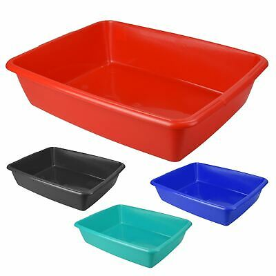 New Large 48cm Cat Kitten Litter Tray Plastic Toilet Loo Black Red Teal Grey