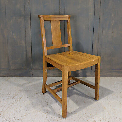Leicester Solid Oak 1960's Army Pattern Slat Seat Church Chapel Chairs