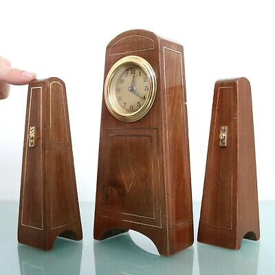 JUNGHANS ANTIQUE Mantel Clock ART DECO! SET Sidepieces! Baby Mini INLAY! Germany