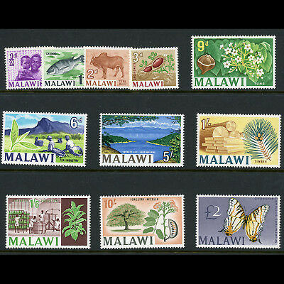 MALAWI 1966-67 Wmk w55. Set of 11 Values. SG 252-262. Mint Never Hinged. (AT482)