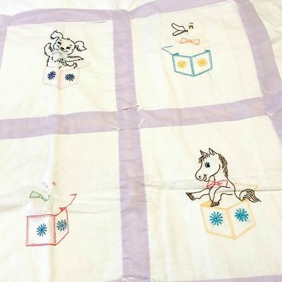"""Vintage Handmade Embroidered Baby Quilt - Animals Jack in the Box - 41.5"""" x 38"""""""