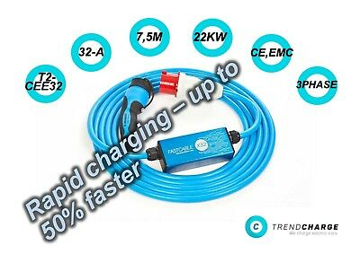 Electric Vehicle charging cabel  22kW,BMW i3, BMW i8, BYD e6 TYP2-CEE
