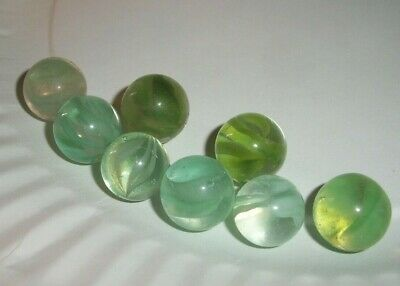 ESTATE Find 8 vintage Vitro Agate Cats Eye Marbles blizzard green white lot 3