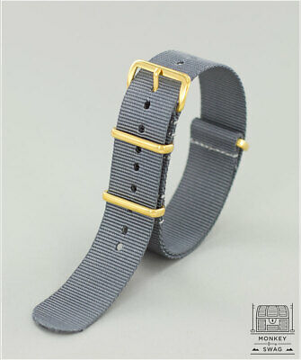 GREY Nato Strap with Gold Hardware 22mm