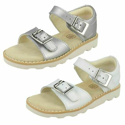 Girls Clarks 'Crown Bloom T' White Or Silver Leather Casual Sandals - F & G Fit