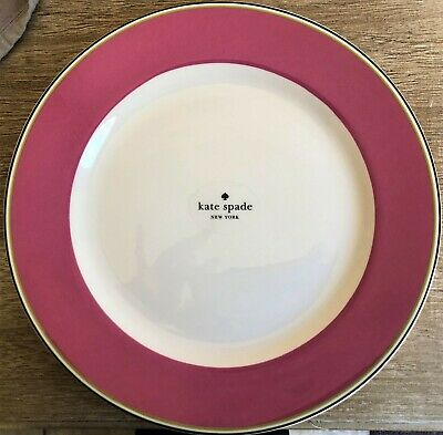 New Kate Spade For Lenox Market Street Circle Pink Dinner Plates Set Of
