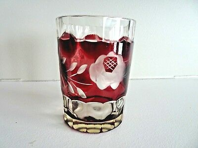 Victorian Art Glass PANELED POLKA DOT Ruby Red Cut to Clear ROSES TUMBLER Etched