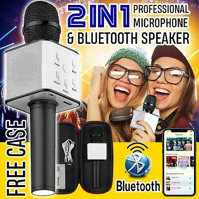 Wireless Bluetooth Karaoke Microphone Speaker Handheld Mic USB Player KTV Party
