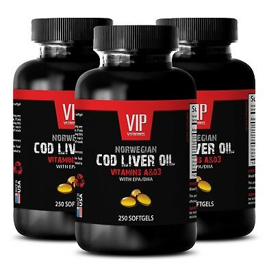 Fertility booster - NORWEGIAN COD LIVER OIL - supports the adrenal - 3 Bottles