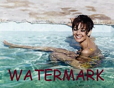 Audrey Hepburn In Yellow Bikini Sitting In A Pool Laughing Publicity Photo