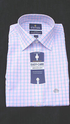 NWT Stafford Men/'s Easy Care Broadcloth Travel Dress Shirt Multi colors /& SIZES