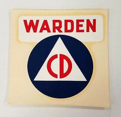 Old~Vintage~Civil Defense~Cd~Warden~Decal~Cold War Era~Glass~Vehicle~Equipment