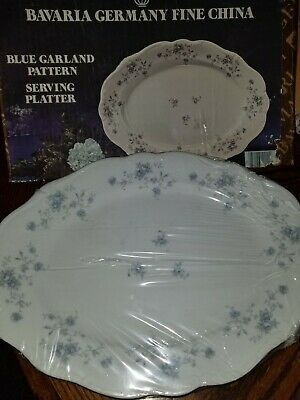 Johann Haviland Bavaria Germany Fine China Blue Garland Serving Platter NEW