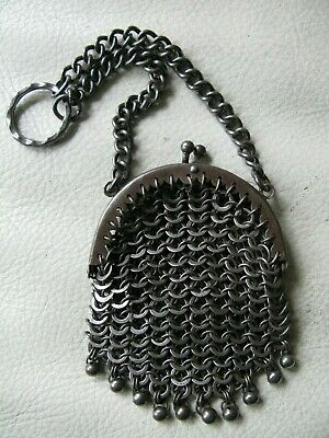 Antique Old World Silver T Chatelaine 10 Ball Tassel Chain Mesh Coin Purse 1800s