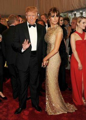 President Donald Standing With Melania Trump In Gold Dress Publicity Photo