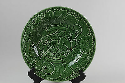"Bordallo Pinheiro Green Vine 12 1/4"" Chop Dinner Platter Raised Portugal #1"