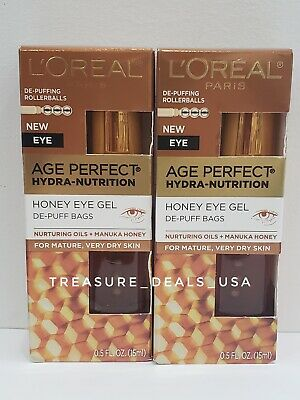 L'oreal Age Perfect Hydra-Nutrition Honey Eye Gel DePuff Bags 0.5 oz NIB