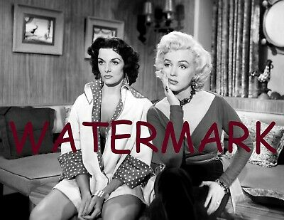 Jane Russell & Marilyn Monroe Sitting And Glaring In Blk & Wh  Publicity Photo