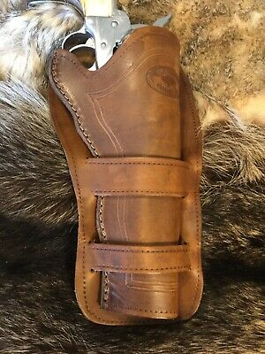 """LEATHER WESTERN COWBOY Holster For 5 1/2"""" Ruger Vaquero, SAA Revolvers (M6)"""