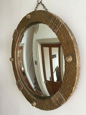 Vintage Round Convex Ball Wall Mirror Mid Century 1940s Retro Old Gold 36cm m168