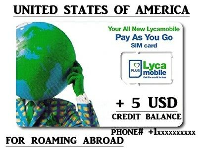 FOR REGISTRATIONS ACTIVATED USA sim card America  American LYCAMOBILE ROAMING