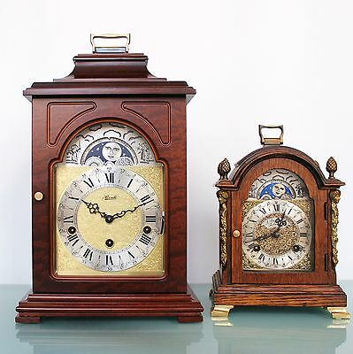 HERMLE Vintage German Mantel CLOCK MOONPHASE Westminster 3 MELODIES! Chime Shelf