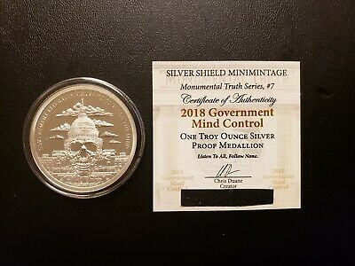 """2018 Silver Shield """"M.T."""" Series #7 - 1 oz. Government Mind Control Proof Round"""
