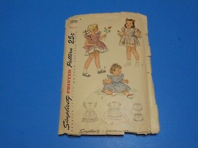 Vintage 1940s Sewing Pattern Girls Dress & Panties Size 5 Simplicity #1991