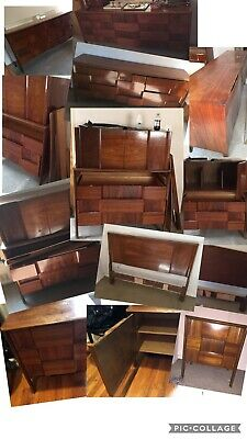 Vintage Midcentury Modern Bedroom Set 5 Pc Armoire Headboard