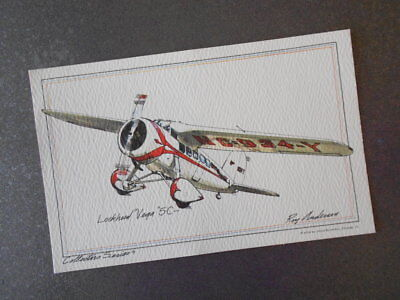 Lockheed Vega 5-C Vintage 1974 Roy Andersen Collectors Series Airplane Postcard