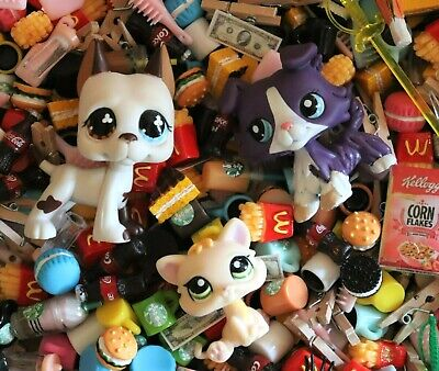 Lot of 10 Littlest Pet Shop LPS Surprise Miniatures Dollhouse Food Accessories