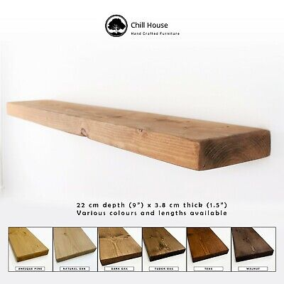 Rustic Flat Floating Shelf Solid Wood Chunky Handmade Oak Industrial Reclaimed