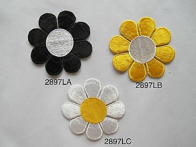 """#2897L 2 3/4"""" Black,Yellow,White Daisy Flower Embroidery Iron On Applique Patch"""