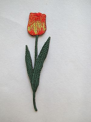 """#3946 4-1/4"""" Red,Yellow,Green Tulip Flower Embroidery Iron On Applique Patch"""