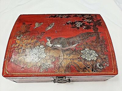 Vintage Chinese Asian Red w/ Birds scenery Jewelry-Graphic Box with key