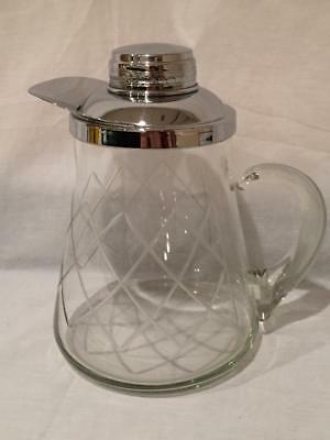 Vintage Etched Cut Glass Pitcher with Silver Chrome Lid