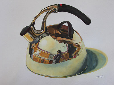 Pot, Kitchen, Original Watercolor Painting, Signed, Wall Art, Home Deco